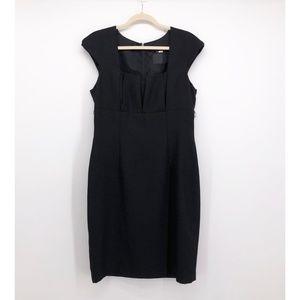 DAVID MEISTER Black Pleated Bodice Sheath Dress